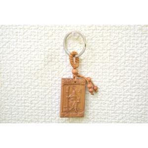 関羽 キーホルダー 木製 一生平安 角型|ryu