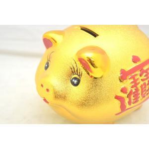 招財 金ブタ 貯金箱 豪華版 赤 小|ryu