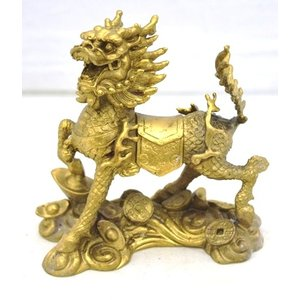 麒麟 きりん 銅製置物 家庭円満 対人関係改善 中|ryu