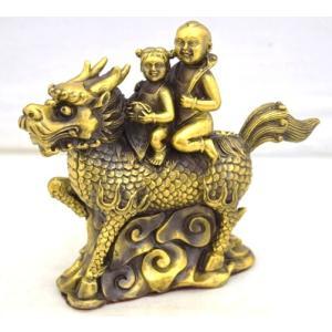 麒麟 きりん 銅製置物 童子 如意棒 金袋 家庭円満 対人関係改善|ryu