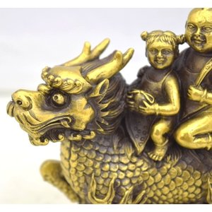 麒麟 きりん 銅製置物 童子 如意棒 金袋 家庭円満 対人関係改善|ryu|06