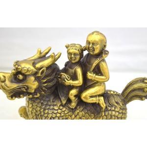麒麟 きりん 銅製置物 童子 如意棒 金袋 家庭円満 対人関係改善|ryu|07