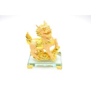麒麟  瓢箪 樹脂製置物 ガラス台座 金色 15cm ryu