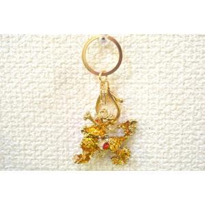 【メール便OK】 麒麟 七宝焼き 黄色 キーホルダー 金属製 イエロー|ryu