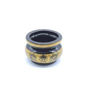香炉 丸型 黒 陶器製 小 浄化|ryu