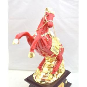 馬 黒台座付き 樹脂製置物 赤 大 うまくいく 成功を招く|ryu|05