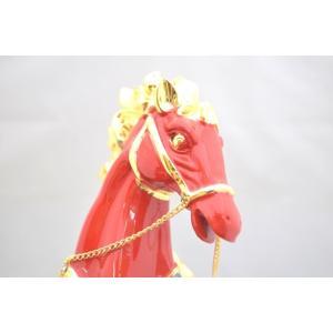 馬 黒台座付き 樹脂製置物 赤 大 うまくいく 成功を招く|ryu|08