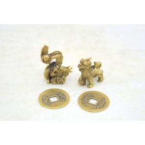 【メール便OK】 貔貅 龍 ミニチュア二体セット 銅製置物 古銭つき ヒキュウ ドラゴン|ryu