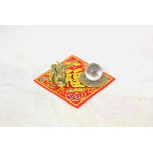 【メール便OK】 貔貅 ミニチュア風水セット 古銭 福飾り 選べる天然石 銅製置物 ヒキュウ|ryu