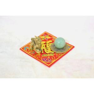 【メール便OK】 貔貅 ミニチュア風水セット 古銭 福飾り 選べる天然石 銅製置物 ヒキュウ|ryu|03