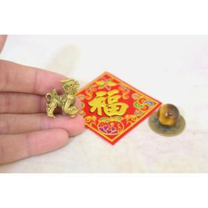 【メール便OK】 貔貅 ミニチュア風水セット 古銭 福飾り 選べる天然石 銅製置物 ヒキュウ|ryu|05