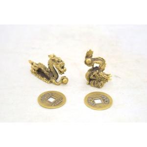 【メール便OK】 龍 ドラゴン ミニチュア二体セット 銅製置物 古銭つき|ryu