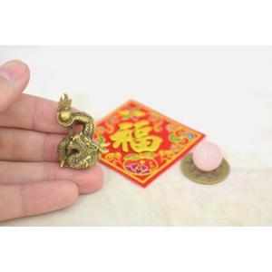 【メール便OK】 龍 ミニチュア風水セット 古銭 福飾り 選べる天然石 銅製置物 ドラゴン|ryu|03