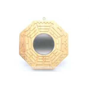 八卦鏡 凸面鏡 木製置物 気の安定盤 20cm ryu