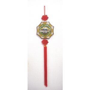八卦飾り 根付 陶器製 獅子柄 吊るし雑貨 風水アイテム  全長約85cm|ryu