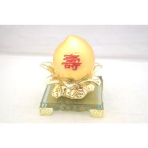 桃 もも 金 樹脂製 ガラス台座 寿 健康運 結婚運|ryu