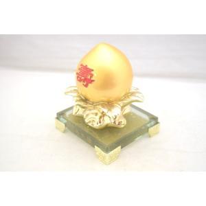 桃 もも 金 樹脂製 ガラス台座 寿 健康運 結婚運|ryu|02
