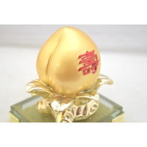 桃 もも 金 樹脂製 ガラス台座 寿 健康運 結婚運|ryu|05