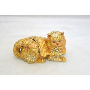 猫 ネコ ねこ 七宝焼き 小物入れ 金 幸福を運ぶ|ryu