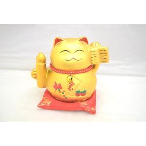 招き猫 座布団付き 宝 貯金箱 金|ryu