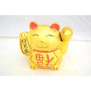 招き猫 貯金箱 金色 陶器製|ryu