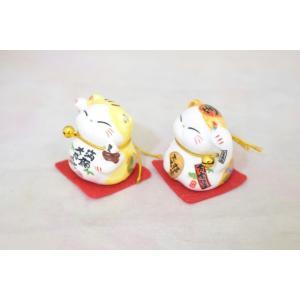 ミニ招き猫 二体セット 座布団と鈴付き 陶器製置物 黄色|ryu|03