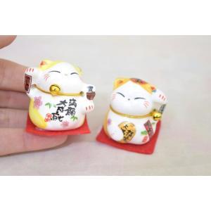 ミニ招き猫 二体セット 座布団と鈴付き 陶器製置物 黄色|ryu|04
