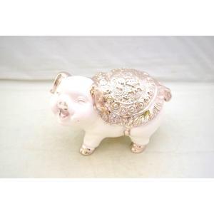 白ブタ 豚 樹脂製置物 幸運 招財 中|ryu