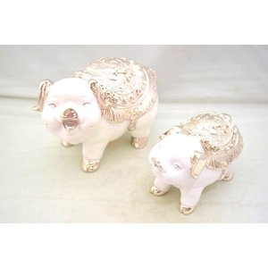 白ブタ 豚 樹脂製置物 幸運 招財 小 中 セット|ryu
