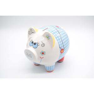 ブタ 貯金箱 陶器製 ポップ 白 水色 17cm|ryu