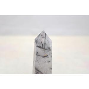 ブラックトルマリンルチルクオーツ 透明度高め 六角柱 ポイント型 パワーストーン 天然石置物  小|ryu|04