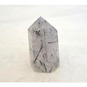 ブラックトルマリンルチルクオーツ 不透明 六角柱 ポイント型 パワーストーン 天然石置物  低小|ryu