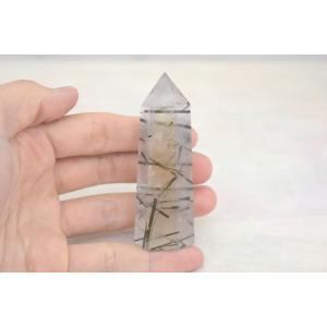 ブラックトルマリンルチルクオーツ 透明度高め 六角柱 ポイント型 パワーストーン 天然石置物|ryu|04