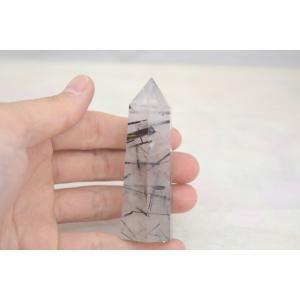 ブラックトルマリンルチルクオーツ 透明度高め 六角柱 ポイント型 パワーストーン 天然石置物|ryu|06