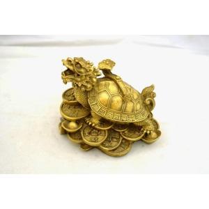龍亀 ロングイ 古銭 如意棒 元宝 銅製品 置物 中|ryu