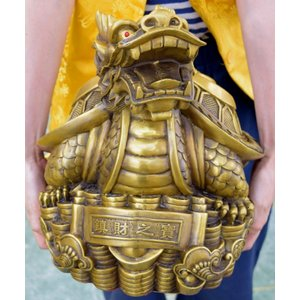 龍亀 ロングイ 銅製置物 仕事運 財運 特大|ryu|10