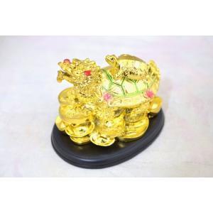 龍亀 ロングイ 子亀 金色 樹脂製置物 台座付き|ryu