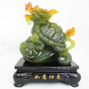 龍亀 ロングイ 樹脂製置物 台座付き カラフル 長寿 財運|ryu