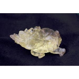 龍亀 ロングイ 黄水晶 シトリン 天然石製置物 中|ryu