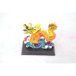 龍 カラフル 樹脂製置物 台座付き 壺 総合運アップ 幸運のシンボル ryu