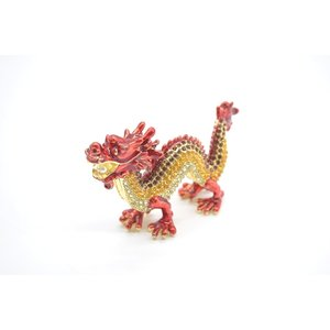 七宝焼き 龍 竜 五本爪 金属製置物 赤 朱色 風水インテリア 小|ryu