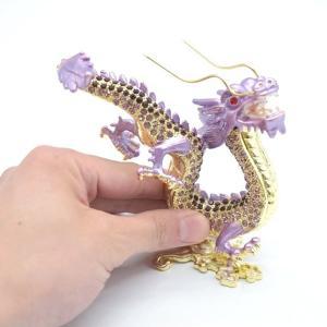 龍 竜 七宝焼き 五本爪 紫 総合運 風水インテリア 中|ryu|05