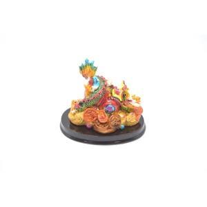 龍 カラフル 樹脂製置物 台座付き 古銭 瓢箪 小|ryu