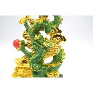 龍 緑 金 8型 古銭 重ね8 招財進宝 末広がり 樹脂製置物 台座付き 28cm|ryu|12