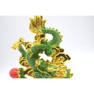 龍 緑 金 8型 古銭 重ね8 招財進宝 末広がり 樹脂製置物 台座付き 28cm|ryu|13