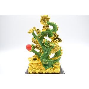 龍 緑 金 8型 古銭 重ね8 招財進宝 末広がり 樹脂製置物 台座付き 28cm|ryu|14
