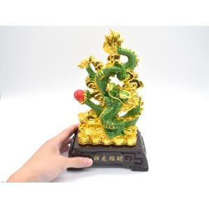 龍 緑 金 8型 古銭 重ね8 招財進宝 末広がり 樹脂製置物 台座付き 28cm|ryu|09