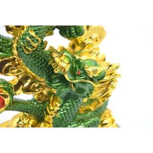 龍 緑 金 8型 古銭 重ね8 招財進宝 末広がり 樹脂製置物 台座付き 28cm|ryu|10