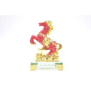 人間関係向上 成功を招く 馬 ガラス台座 置物 赤 小|ryu