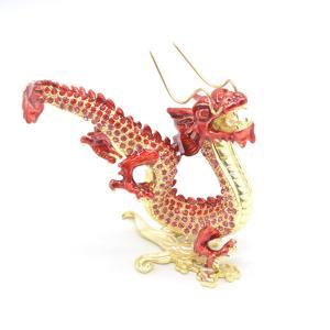 龍 竜 七宝焼き 五本爪 赤 朱色 総合運 風水インテリア 中|ryu